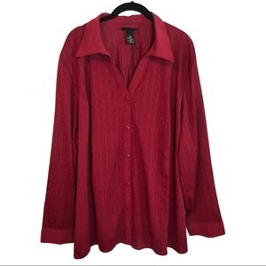 Dark Red Long Sleeve Stretch Button Up Blouse